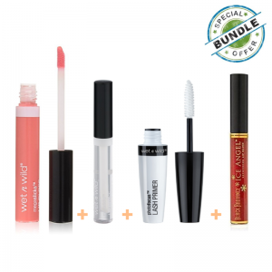 Wet n Wild Photo Focus Lash Primer + MegaSlicks Lip Gloss - Crystal Clear + Megaslicks Lip Gloss Great - Coral Action + Black Radiance Ice Angel Scarlet