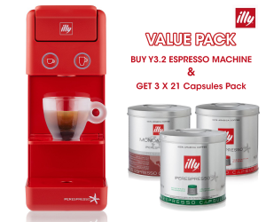 illy - Y3.2 iperEspresso Machine - Red (FREE - 3 X 21 Capsules Pack)