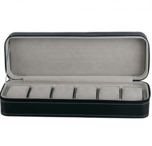 Black PU Leather Watch Box - 6 Slots