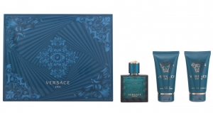 Versace Eros 3pc Perfume Set For Men (EDT-50ml + Shower Gel-50ml + After Shave Balm-50ml)