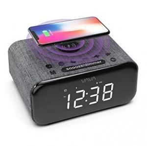 VAVA  Grey Bluetooth Alarm Clock Radio Speaker with Wireless Charging - VA-SK008