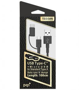 PQI USB-C Cable Du-Plug 100cm (Type C + Micro USB)