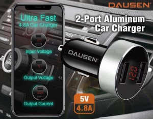 Dausen 2-Port Aluminum Car Charger Ultra Fast  5V  4.8A