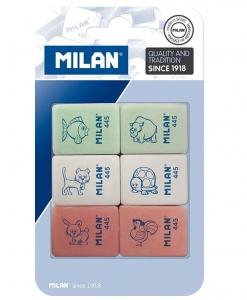 Milan Blister Pack 6 Erasers Children\'s Designs 445