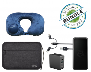 iWalk Power Adapter + Torrii Kevable 3 in 1 + Torrii Bolt 2 in 1 Wireless Charger + Wiwu Cozy Storage Bag + Romix Pictet Fino Travel Neck Pillow