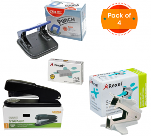 Genmes Stapler + Dingli Punch + Rexel Staple Pins + Rexel Staple Remover(Pack of 4)