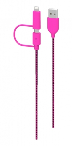 iHip Energy - Heavy Duty Pink & Black Dual Lightning/Micro Cable
