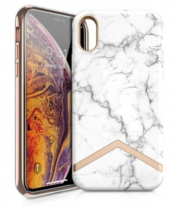 Itskins Avana Series Case Anti Shock Up to 2 Mtr for iPhone Xs Max - White Marble & Gold