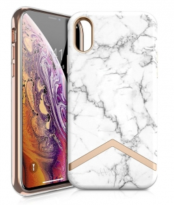 Itskins Avana Series Case Anti Shock Up to 2 Mtr for iPhone Xs - White Marble & Gold