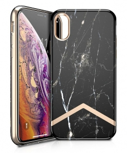 Itskins Avana Series Case Anti Shock Up to 2 Mtr for iPhone Xs - Carbon Marble & Gold