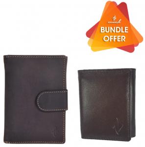 Zunash Unisex Leather Note Book Wallet - Darkbrown + Zunash Leather Trifold Wallet - Brown(Buy 1 Get 1 Free)