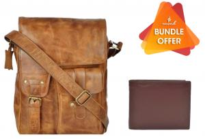 Zunash Adam Unisex Messenger Bag - ZNB-006 + Zunash Nappa Leather Wallet- Brown(Buy 1 Get 1 Free)