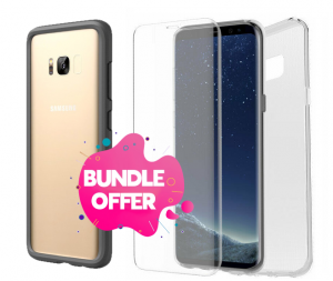 Rhinoshield Bumper Crash Guard Case + Otterbox Clearly Protected Skin + Alpha Glass - Samsung Galaxy S8+ (Bundle Offer)