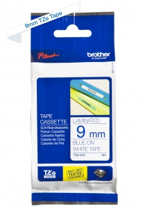 Brother Blue  On White Laminated Labeling Tape - 9mm (9TZ223)