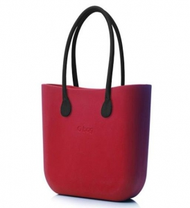 Obag Classic in Ruby With Black Long Faux Leather Handles