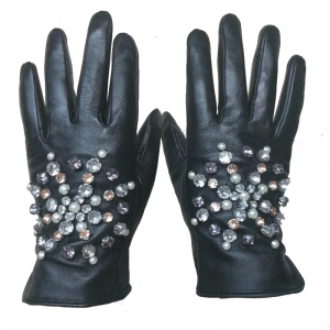 Honey Accessories Women's Gloves Diamonds - Black