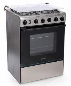 Midea 4 Gas Burner 60X60 Cm Gas Cooker - Silver