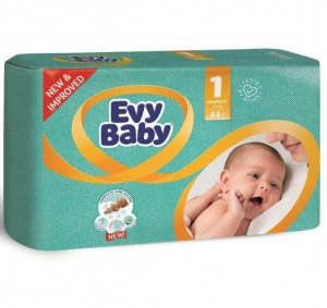 Evy Baby Newborn Baby Diaper - 44 Pcs, Size 1