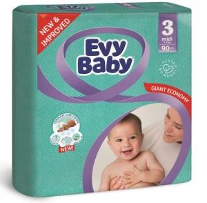 Evy Baby Newborn Baby Diaper - 90 Pcs, Size 3 Midi
