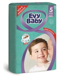 Evy Baby Newborn Baby Diaper - 64 Pcs, Size 5 Junior