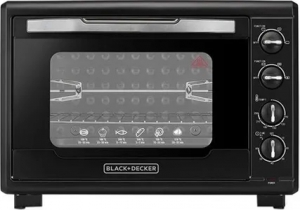 Black & Decker Double Glass Toaster Oven with Rotisserie, TRO55RDG-B5 - Black, 55 liter