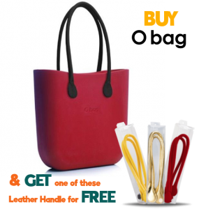 Obag Classic in Ruby With Black Long Faux Leather Handles (OFFER: BUY OBag and Choose One of Eco Long Leather Handle FREE )