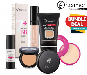 Flormar Face Set ( Bundle: Flormar Reborn + BB White cream + Makeup Base + Foundation + Concealer + Pretty Compact + Full Coverage Concealer)