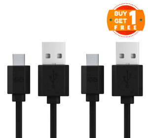 iWalk Trione Tangle-Free Micro USB Cable 1M - Black (BUY 1 GET 1 FREE)