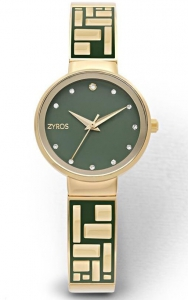 Zyros ZY624L Women\'s Analog Watch with Golden Strap - Green