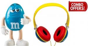 iHip AIRHEADS Candy Stereo Noise Isolating Headphones + iHip M&M'S Portable Bluetooth Wireless Speaker(Combo Offer)