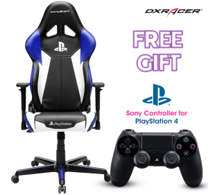 DXRacer PlayStation Edition Gaming Chair (Free Gift - Sony Dualshock4 Controller for PlayStation 4)