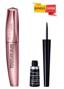 Rimmel London Wonder Luxe Volume Mascara Black 11ml + Exaggerate Liquid Eyeliner Black 2.5ml (Buy 1 Get 1 Free)