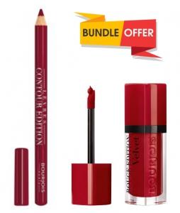 Bourjois Rouge Edition Velvet Lipstick 15 Red - Volution + Levres Contour Edition 10 Bordeaux Line (Buy 1 Get 1 Free)