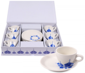 Sands Set of 6 Porcelain Cups For Turkish Coffee - Blue In White