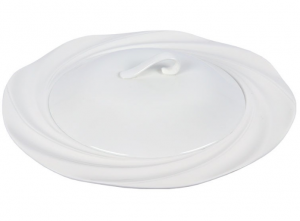 Sands Porcelain Elegant Dinner Plate With Lid - White