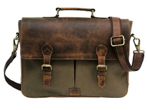 Zunash Basta Green Canvas Leather Laptop Bag