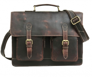 Zunash Leather Laptop Portfolio Bag - Brown
