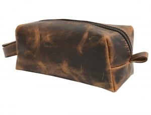 Zunash Leather Toiletry Bag - Tan