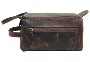 Zunash Leather Unisex Toiletry Bag-Maroon