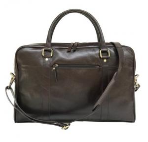 Zunash Coffee Brown Leather Laptop Bag