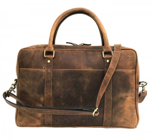 Zunash Vintage Brown Full Grain Leather Bag - ZBG-0109-M-TN