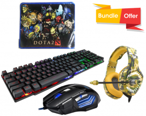 iMice AN-300 USB Wired Gaming Keyboard Mouse Combo + Onikuma Army Gaming Headphone - K1B Pro + Gaming Mouse Pad