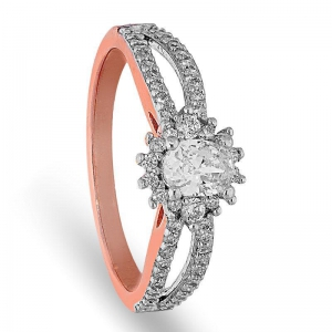 FK Jewellers Italian Silver 925 Rose Gold Plated Blooming Flower with Oval Cut Solitaire Ring - FKJRNSL2127