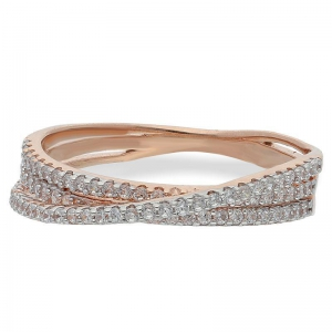 FK Jewellers Italian Silver 925 Rose Gold Plated Twisted Ring - FKJRNSL2401
