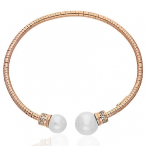 FK Jewellers Italian Silver 925 Rose Gold Plated Pearls Bangle - FKJBNGSL1896