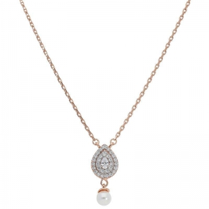FK Jewellers Italian Silver 925 Rose Gold Plated Pear Shaped Hanging Pearl Necklace - FKJNKL1918