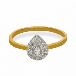 FK Jewellers Italian Silver 925 Gold Plated Pear Shaped Ring - FKJRNSL2160