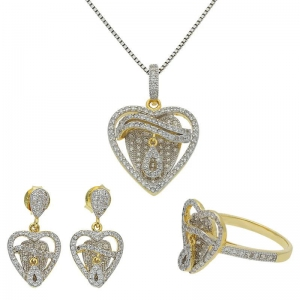 FK Jewellers Italian Silver 925 Gold Plated Heart Pendant Set (Necklace, Earrings and Ring) - FKJNKLST1926