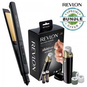 Revlon Perfect Curly & Straight Smooth Brilliance Straightener RVST2174ARB (Bundle Offer: Nail Care)