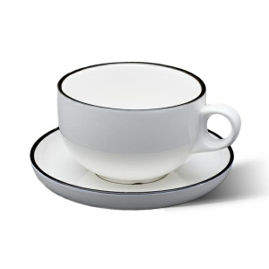 Sands Porcelain Tea Coffee Cups - White With Black Line
